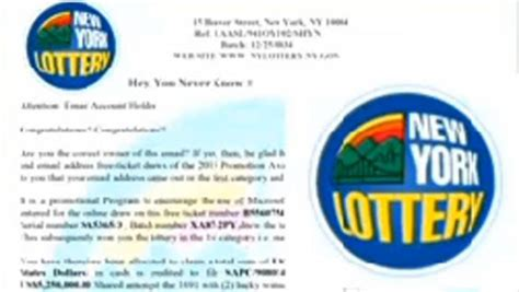 Sweepstakes Scam - lottery scam arriving via email offical new york lottery logo included cbs news