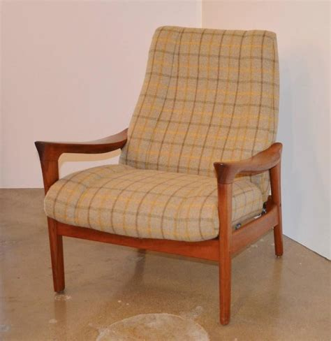 danish recliner danish mid century wood framed recliner with ottoman at