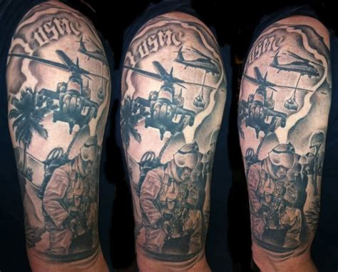 marine corps sleeve tattoo designs helicopter with soldiers on half sleeve