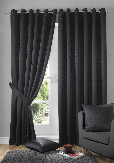 stylish living room curtains madison eyelet lined curtains black free uk delivery