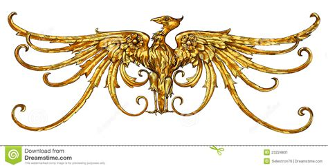 golden eagle emblem a heraldic sign stock image