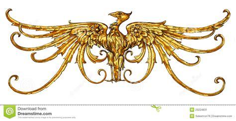 golden eagle emblem a heraldic sign stock image