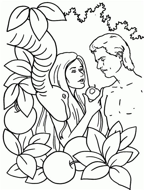 picture of adam and eve in the garden of eden to color