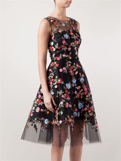 Flowers Embroidery Dress lyst oscar de la renta floral embroidered tulle dress in