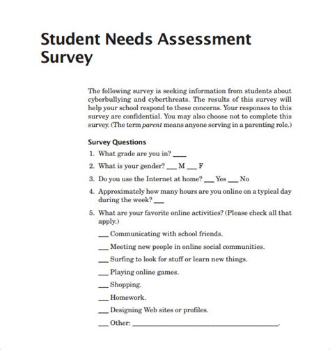 needs assessment survey template sle needs assessment survey template 8 free