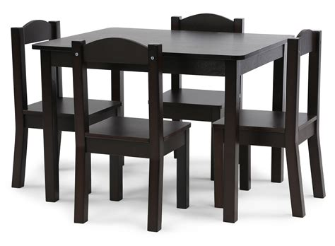 espresso table and chairs tot tutors wood table and 4 chairs set espresso