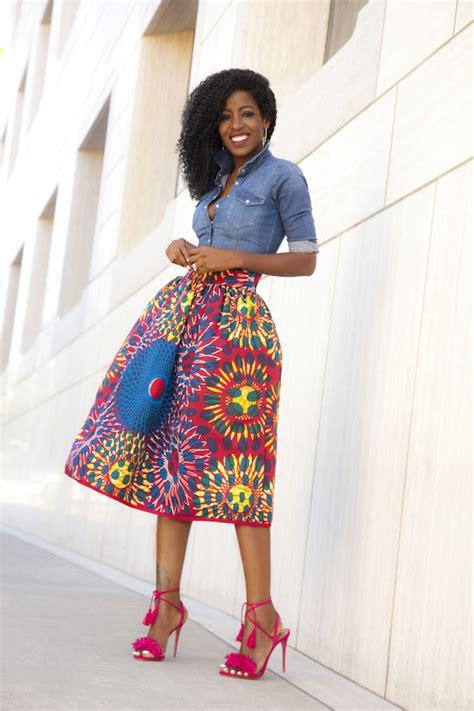 style pantry fitted denim shirt printed midi skirt