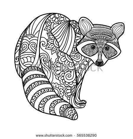 Patterned Animal Coloring Pages by Raccoon Stock Images Royalty Free Images