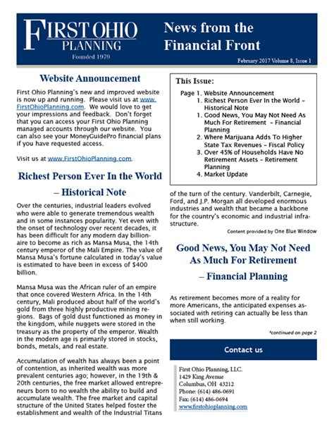 Financial Planning Newsletter Ohio Planning Financial Front Newsletters Ohio Planning Llc