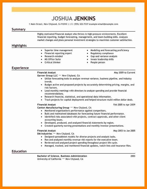 Financial Analyst Resume Sle Doc business analyst resume objectives exles easy high