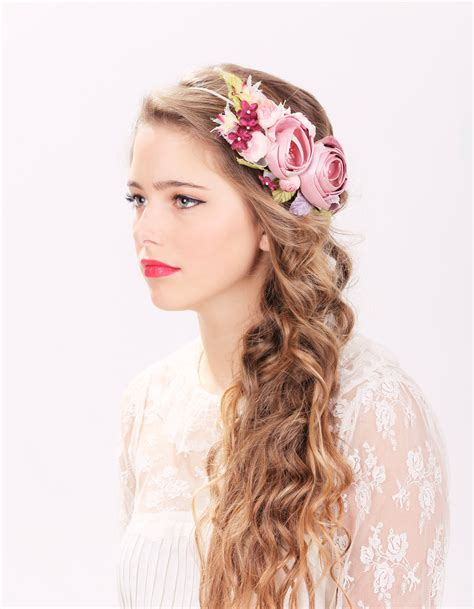 Flower Hair Accessories For Weddings by Bridal Flower Hair Crown Woodland Wedding Pink Flower