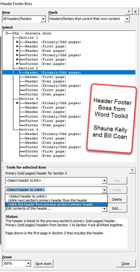 remove footer sections sections headers and footers page numbers margins