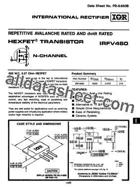 harga transistor irf 460 irfv460 데이터시트 pdf international rectifier