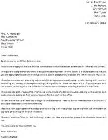 Administrator Cover Letter by Office Administrator Cover Letter Exle Icover Org Uk