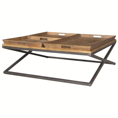 Tray Style Coffee Table Jax Square Coffee Table With Tray Style Top By Four Wolf And Gardiner Wolf Furniture