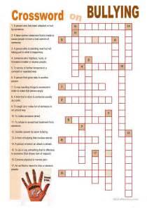 crossword on bullying worksheet free esl printable