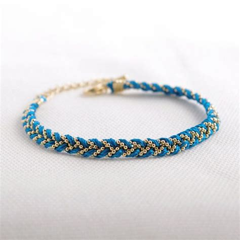 thread and bead bracelets braided satin thread with chain bracelet