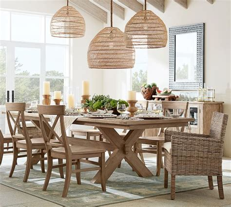 allow extra room for dining with a large kitchen islands flora oversized rattan pendant pottery barn