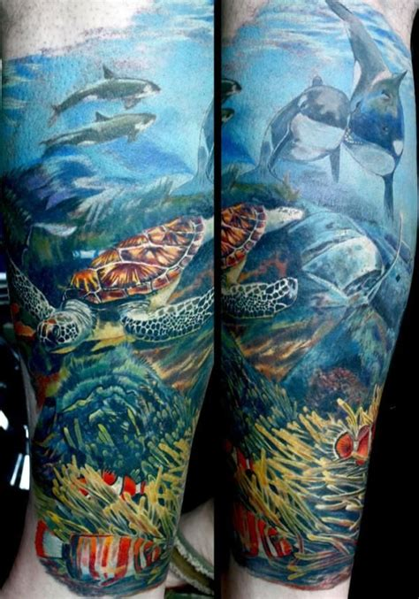 ocean tattoo quarter sleeve ocean theme tattoos underwater sleeve pinterest
