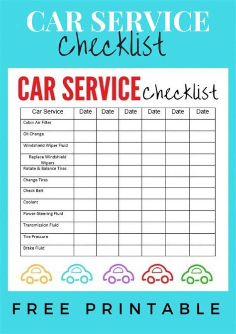 Vehicle Service Checklist Template by Car Service Checklist Printable