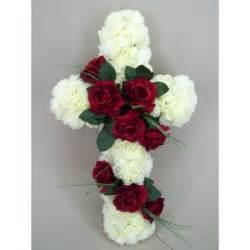 Silk funeral flowers red rose cross af016