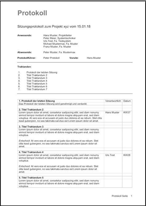 word vorlage laden protokoll vorlage sitzungsprotokoll word muster vorlage ch