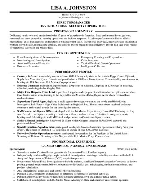 Fraud Investigation Manager Sle Resume by Johnston Resume