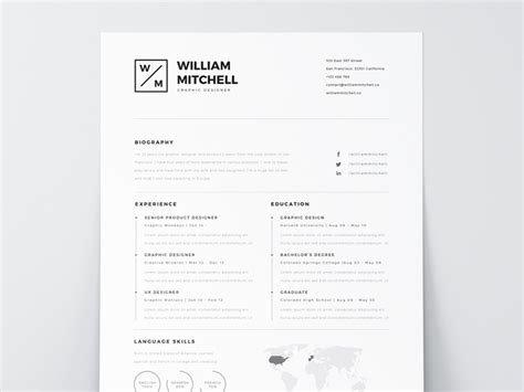 Best Free Resume Templates For Designers Minimalist Resume Template