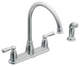 moen 87000 banbury two handle high arc kitchen faucet with sidespray in chrome traditional