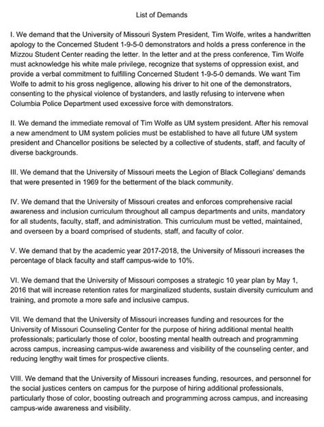 Demand Letter Proz leftist authoritarians mizzou president to resign simply for being white not approving re