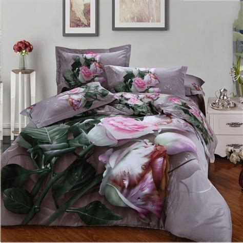 rose comforter set 3d pink rose bedding set queen 4pcs flowers comforter
