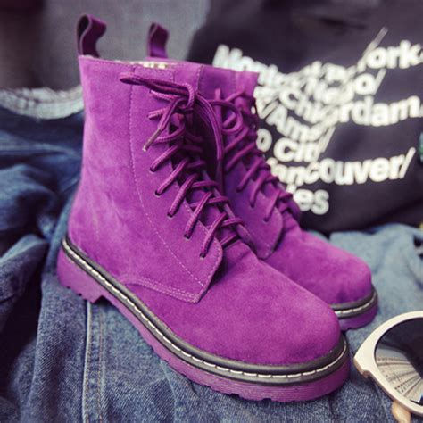 Bartier Glosy Flat Shoes 36 40 China popular purple suede ankle boots buy cheap purple suede
