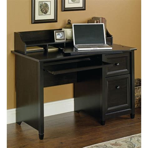 Black Computer Desk With Storage Sauder Edge Water Estate Black Desk With Storage 409043 The Home Depot