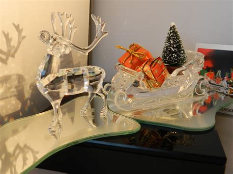Mirror Reindeer swarovski sleigh with mirror reindeer with mirror
