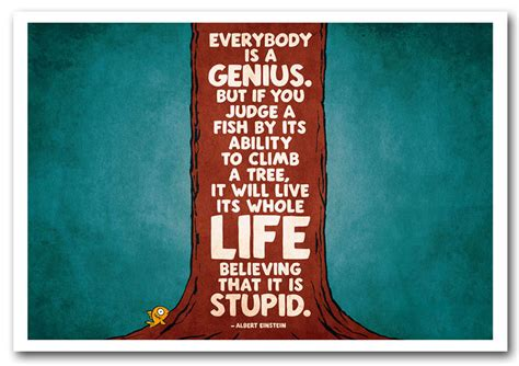 Everybody Is by Albert Einstein Everybody Is A Genius Text Quotes Framed