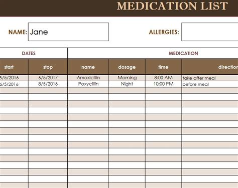 medicine list template medication list template my excel templates