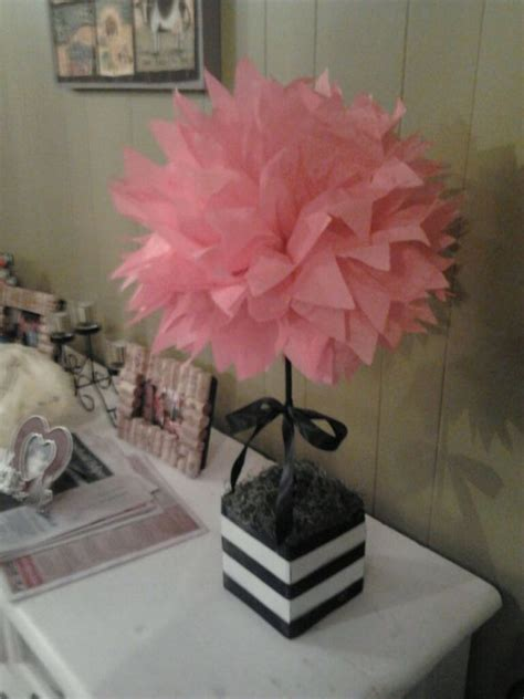 How To Make Centerpieces With Tissue Paper - my diy tissue paper pom pom topiary weddingbee photo
