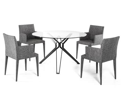 Contemporary Glass Dining Table Sets Contemporary Dining Set W Glass Table 44d6105set
