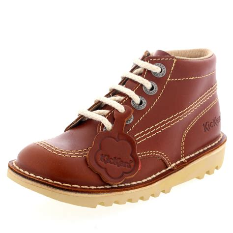Kickers Shoes 5 unisex infants kickers kick hi leather lace up back to school shoes uk 5 12