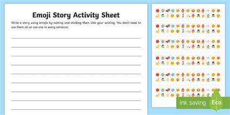 activity layout how to create new start new activity ks2 emoji story writing worksheet activity sheet uks2