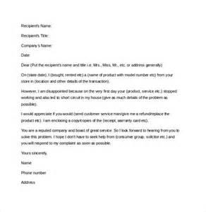 letter template complaint 12 letter of complaint templates free sle exle