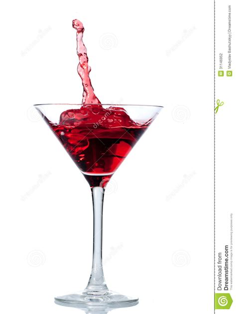 red drink red cocktail with splash isolated on white stock photo