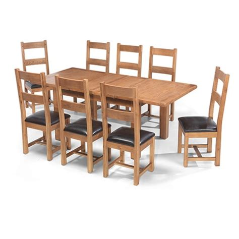 oak extending dining table and 8 chairs rustic oak 132 198 cm extending dining table and 8 chairs