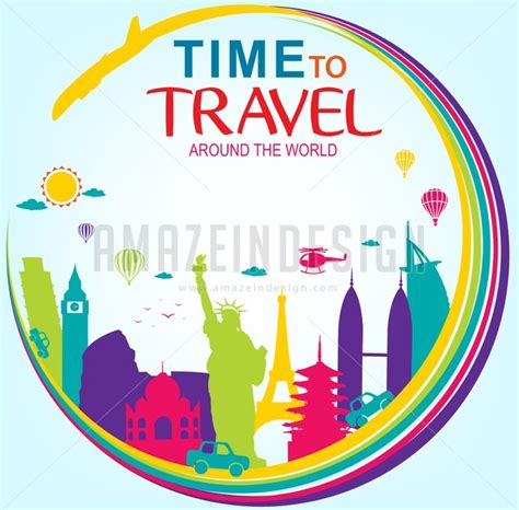Time And Time Around vector time to travel around the world amazeindesign