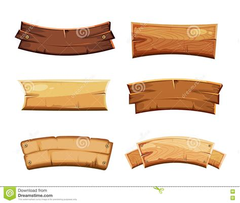 cartoon wood blank banners and ribbons western signs