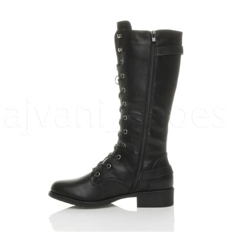 lace up biker boots womens ladies low heel lace up zip biker army combat