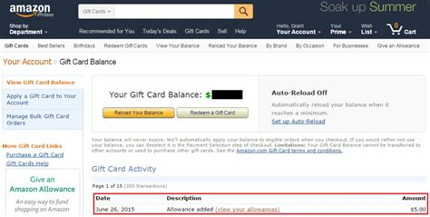 At T Gift Card Balance - set up amazon allowance to automatically charge your bofa better balance rewards
