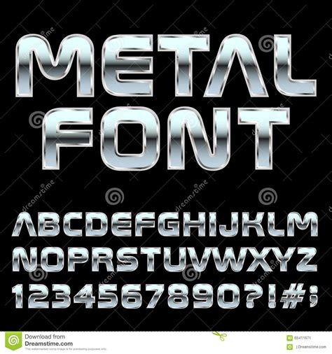 design font metal mmetal style letters and symbols stock vector image