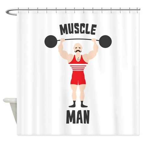 man shower curtain muscle man shower curtain by hopscotch8