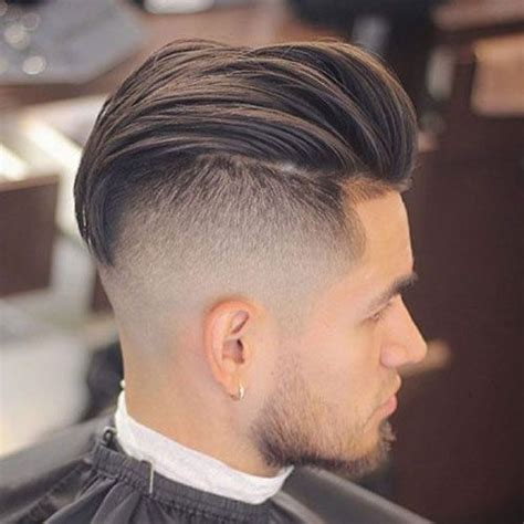mens hair cuts with pushed bach over ears tunsori barbati academia de frizerie bucuresti